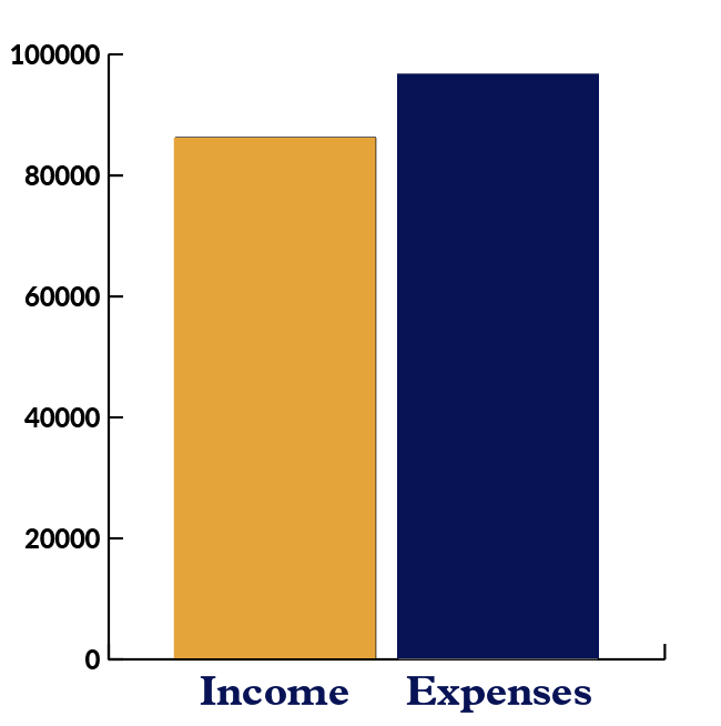 Bar graph showing Carpentries Income versus Expenses from Workshops with expenses and income nearly equal
