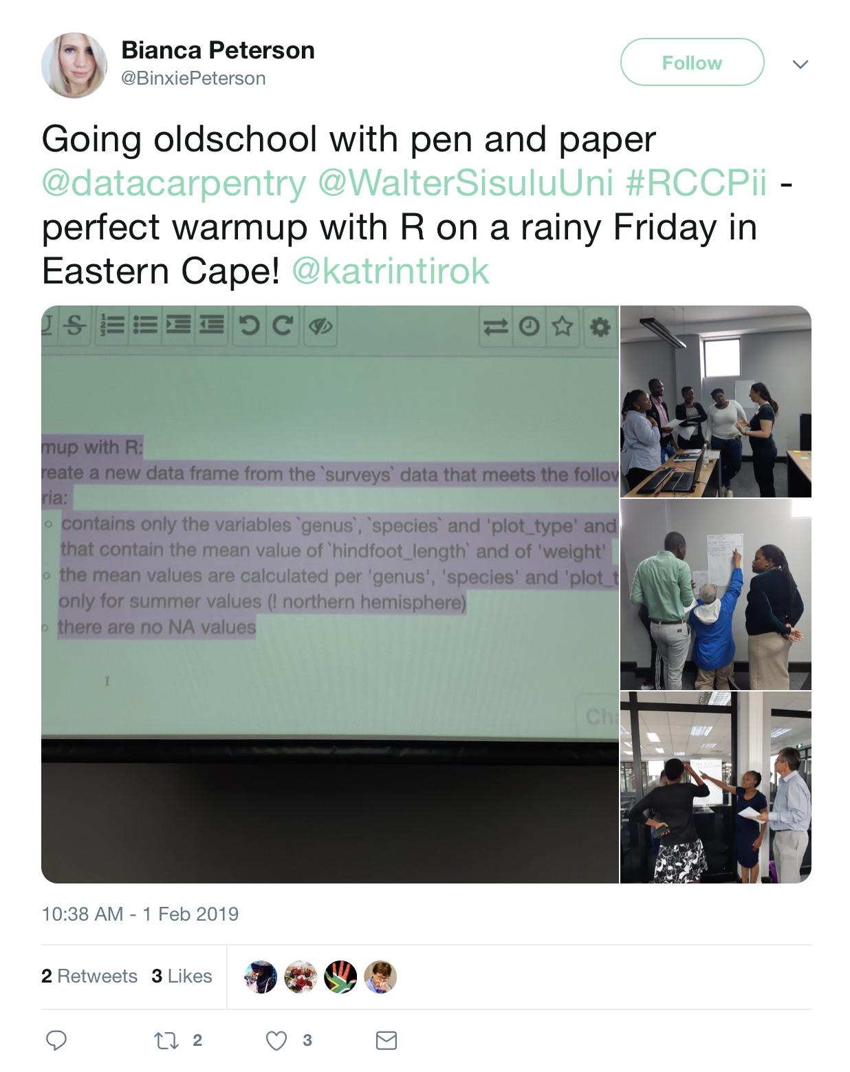 Bianca Peterson's tweet illustrating pen on paper exercise