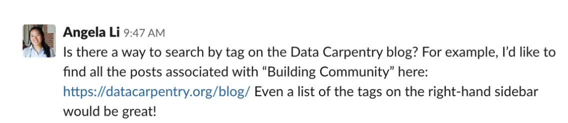 Question on navigation by tags on the Data Carpentry blog posed by Angela Li in August 2019